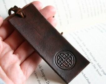 Bookmark. Dark brown leather bookmark - celtic design or cross or choose your stamp or monogram