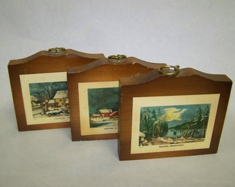 Currier & Ives Plaques Vintage Manchester Wood Plaques Louise Thompson Plaques