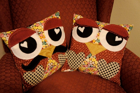 """HIS n HERS OWL Pillows One of a Kind Handmade  14"""" x 14""""  Owl Throw Pillows"""