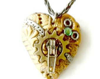 Mended Heart Necklace Steampunk heart pendant Handmade Gift