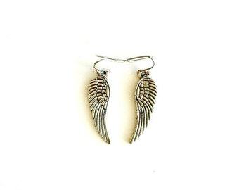 Angel Wing Earrings antique silver dangling TWD wing earrings Handmade Gift