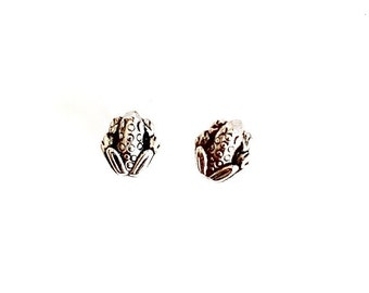 Frog Stud Earrings antique silver toad post earrings