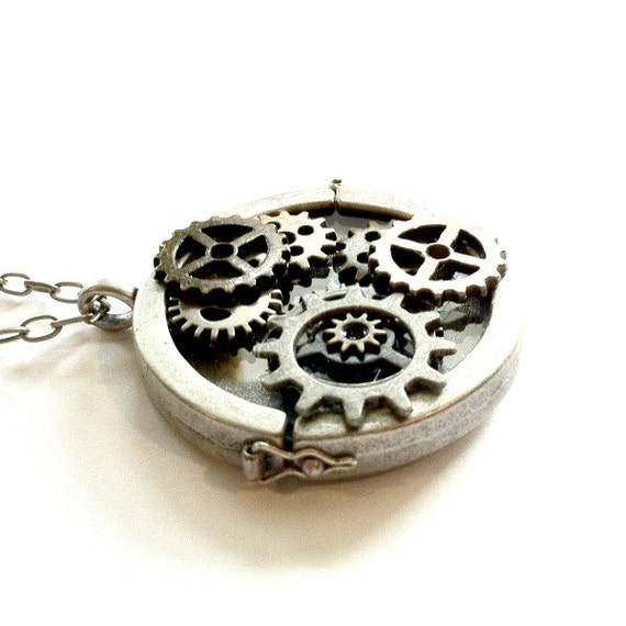 Steampunk Gears Locket Pendant Steampunk sliding locket Mother's Day Gift Free US Shipping