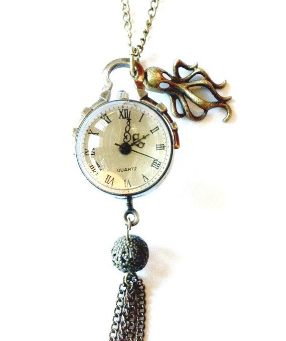 Crystal ball watch steampunk pendant with octopus Handmade Gift
