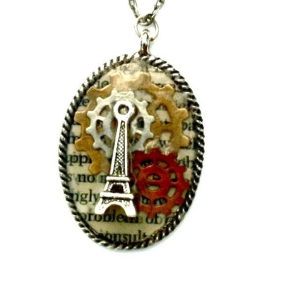 Eiffel Tower Necklace Steampunk gears pendant Handmade Gift