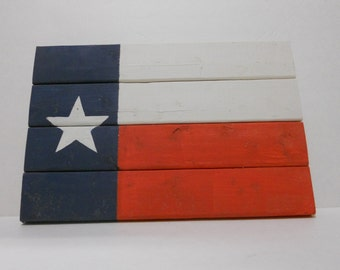 Small Rustic Wood Texas Flag