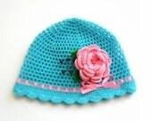 baby girl summer hat, blue hat, summer hat, hat with flower, baby girl summer hat, hat for gift