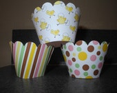 Easter Chick  Cupcake Wrappers   Set of 12 Spring