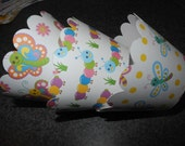 Catepillar  Butterfly Cupcake Wrappers  Set of 12  Dragonfly