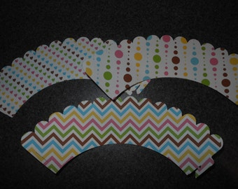 Chevron Cupcake Wrappers  Set of 12 Hearts  Dots