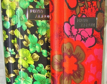 Photo Album Vintage. Flower Power. Floral Sateen Covers, Spiral, Fold-Out Pages. Black and Green, Pink and Orange.
