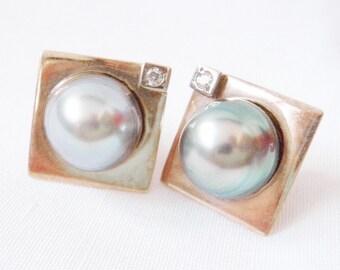 Baroque Pearl Diamond Earrings. 14k Gold Earrings, Gray Baroque Bridal Pearls Diamonds Vintage Bride Wedding 1980s Designer