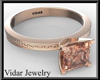 Engagement Ring,Pink Morganite Engagement Ring,Unique Engagement Ring,Solitaire Engagement Ring.Rose gold,custom.Clasic.Rose Gold.