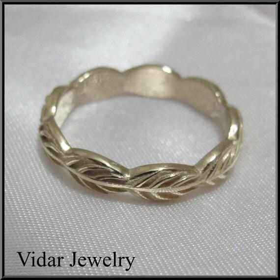 Unique Wedding Band,Wedding Ring,Gold Wedding Band,For her,14k gold Leaf Wedding Band,Unique Wedding Band,Leaves Wedding ring.