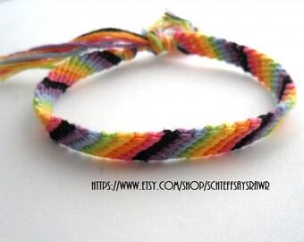 Rainbow Friendship Bracelet with Black Stripe