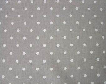 """0.5 yard Oilcloth - Laminated Cotton tablecloth white dots on grey 52"""" wide"""