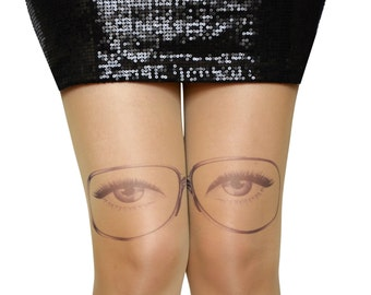 S-XXL Sizes Available , Transparent Tattoo Tights , Print Eyes,Glasses Printed Leggings ,Tights Handmade, Womens Pantyhose