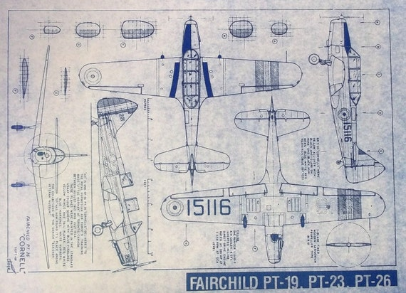 Fairchild pt 19 pt 23 pt 26 airplane blueprint by for Where to buy blueprint paper