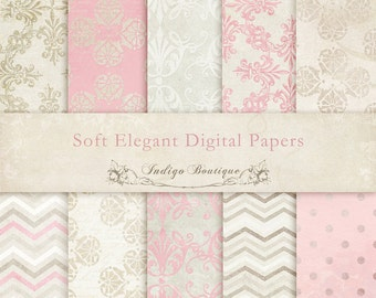 Soft Elegant Digital Papers -  for Photographers, Scrapbooking and Card Making - ID047, Instant Download