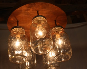 Circular mason jar pendant light chandelier
