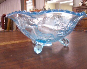 Blue Stag & Holly Footed Glass Bowl