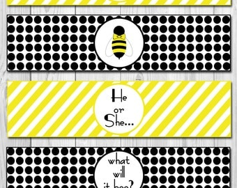 INSTANT DOWNLOAD - He or She What Will it Bee Baby Shower Gender Reveal Water Bottle Labels - DIY - Printable