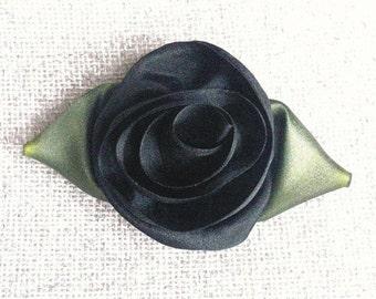 Black Silk Flower Pin - Brooch.