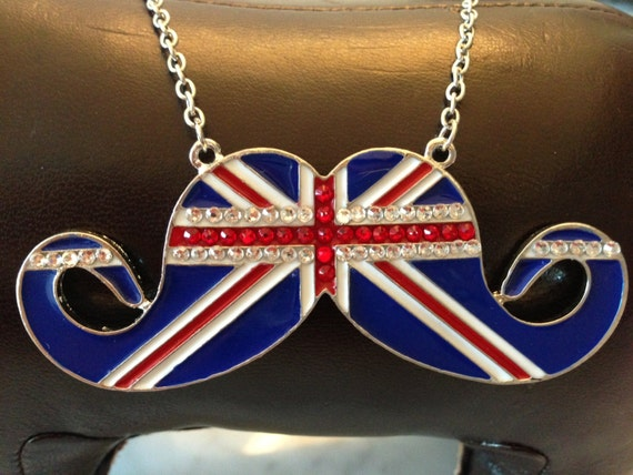 Swarovski Crystals Embellished UK Flag Cute Mustache Necklace