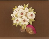 "Handmade Chocolate Brown Birthday Card 5"" x 7"" with White Floral Bouquet and Green & Pink Faux Leaf"