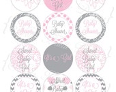"Pink and Grey ""It's a Girl"" Printable Round Tags - Intstant Digital Download"