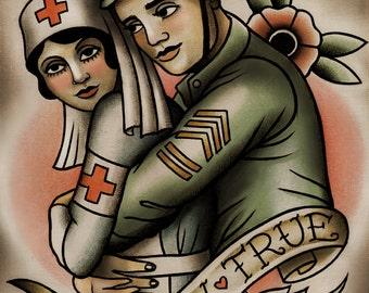 Soldier and Nurse Tattoo Art Print