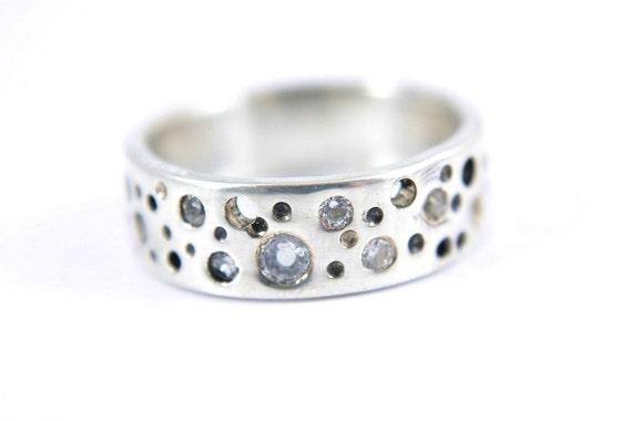SALE 30% Zirconia Band White Cubic Zircon CZ Ring Band Wedding Sterling Silver Moonwalk Size 8 Handcrafted Silversmith Metalsmithed Gemstone