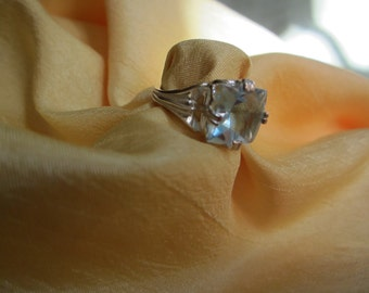 Size 7 Sterling Ring with a Square Sky Blue Natural Topaz Stone