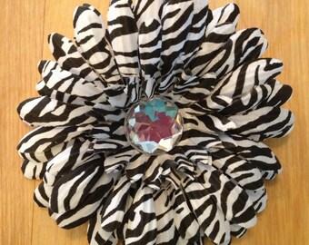 4 Inch Zebra Print Gerber Daisy Flower Hair Clip