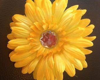 4 Inch Yellow Gerber Daisy Flower Hair Clip