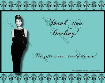 "Breakfast at Tiffany's Thank You Card ""EACH"" (WITH ENVELOPES)"