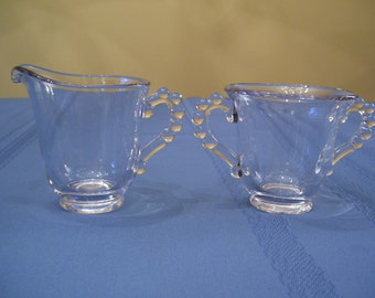 Candlewick Sugar & Creamer, Imperial Glass 1930's Depression Clear Glass Vintage