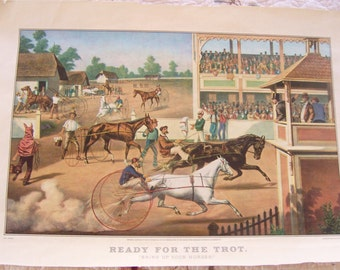 """Harness Racing Print Vintage, """"Ready For The Trot"""" Horse Print, Collectible Print"""