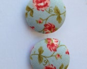 Light Blue and Pink  Floral Fabric Button Earrings