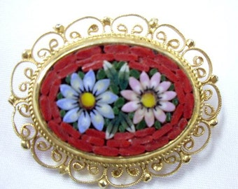Vintage Red Daisy Micro Mosaic Brooch Pin  Italy