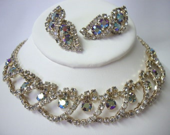 Fabulous Vintage Paved Aurora Borealis Necklace & Earring Demi Parure Set