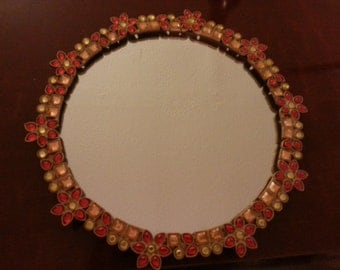 Pretty Mirror with Red, Orange and Yellow Accents