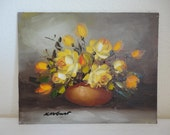 Vintage Flower Painting - Yellow and Orange Rose Bouquet