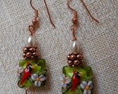 Famous glass artisan beadswith copper findings