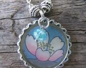 Zen Lotus Flower Vintage Storybook Charmed Bottlecap Pendant Necklace, OOAK