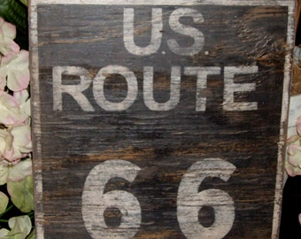 Distressed vintage and historic inspired Route 66 sign