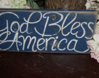 Distressed God Bless America sign
