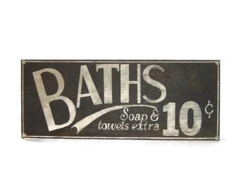 Bathroom Signs Vintage distressed bath sign | etsy