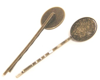 12 Pcs of hair bobby pin for 13x18mm cameo-M6004-Antique bronze