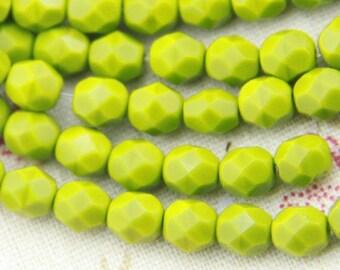 25 pcs strand of Czech glass polished beads-6mm-9017-olive